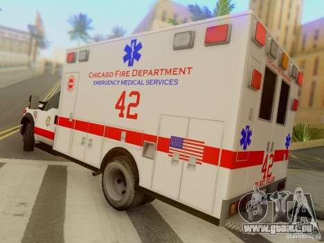 Ford F350 Super Duty Chicago Fire Department EMS für GTA San Andreas zurück linke Ansicht