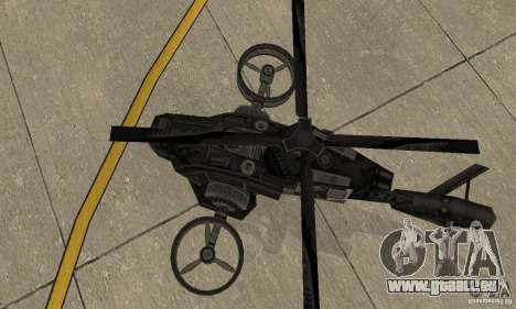 Un hélicoptère du jeu TimeShift Black pour GTA San Andreas vue arrière