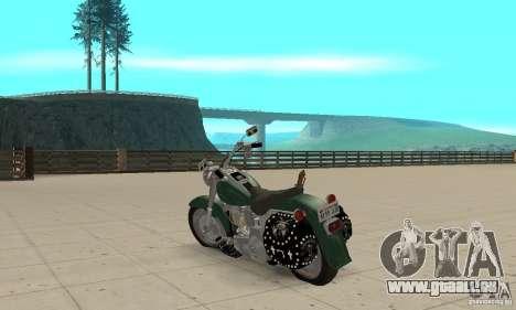 Harley Davidson FLSTF (Fat Boy) v2.0 Skin 1 pour GTA San Andreas sur la vue arrière gauche