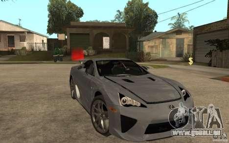 Lexus LFA 2010 für GTA San Andreas Rückansicht