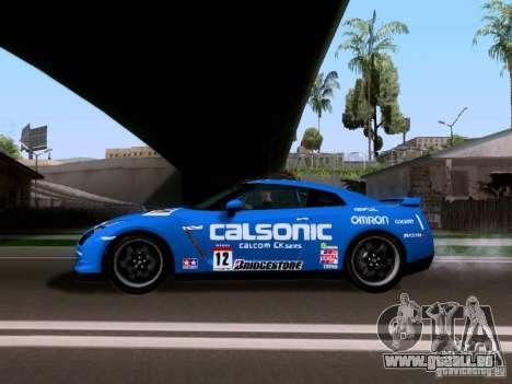 Nissan GTR 2010 Spec-V pour GTA San Andreas sur la vue arrière gauche