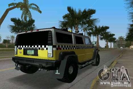 Hummer H2 SUV Taxi pour GTA Vice City sur la vue arrière gauche