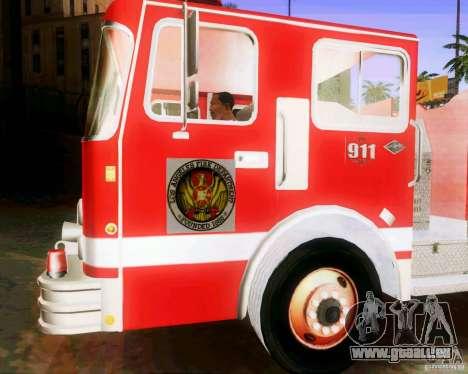 Pumper Firetruck Los Angeles Fire Dept für GTA San Andreas Rückansicht