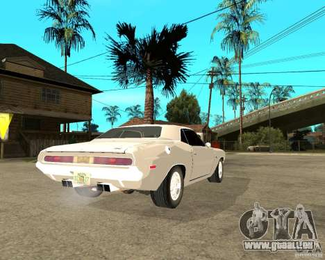 Dodge Challenger R/T Hemi 70 für GTA San Andreas zurück linke Ansicht