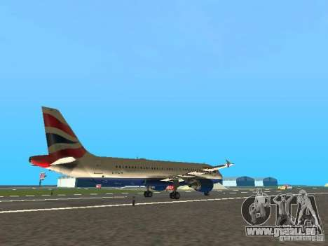 Airbus A320 British Airways für GTA San Andreas rechten Ansicht