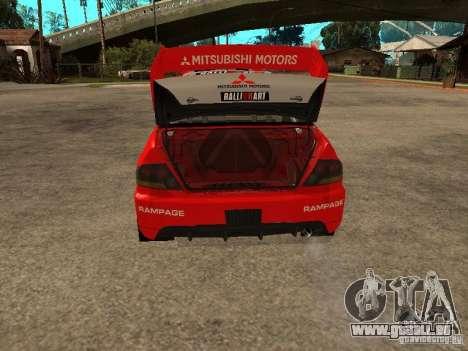 Mitsubishi Lancer Evo IX DiRT2 pour GTA San Andreas vue de dessous