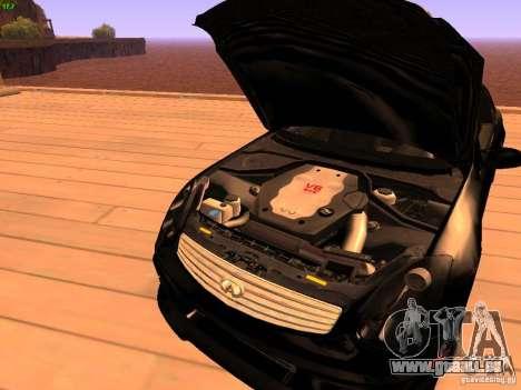 Infiniti G35 V.I.P pour GTA San Andreas vue de dessus
