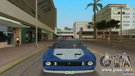 Ford Mustang 1973 pour GTA Vice City sur la vue arrière gauche