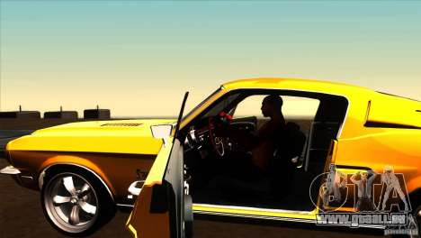 Shelby GT500KR pour GTA San Andreas vue intérieure