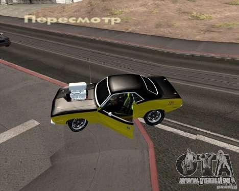 Plymouth Hemi Cuda 440 pour GTA San Andreas vue de dessus
