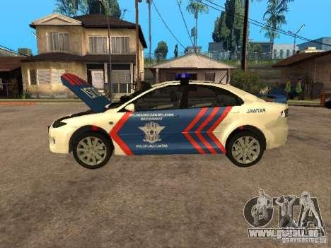 Mazda 6 Police Indonesia für GTA San Andreas Rückansicht