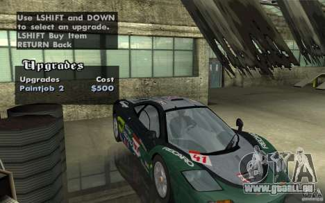 Mclaren F1 road version 1997 (v1.0.0) pour GTA San Andreas vue intérieure