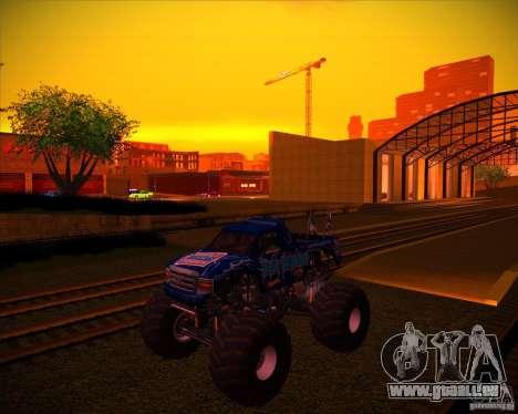 Monster Truck Blue Thunder pour GTA San Andreas vue de dessous
