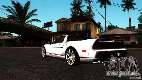 Acura NSX Stock pour GTA San Andreas sur la vue arrière gauche