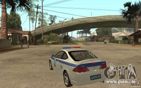 Acura RSX-S DPS ville de Barnaoul pour GTA San Andreas sur la vue arrière gauche