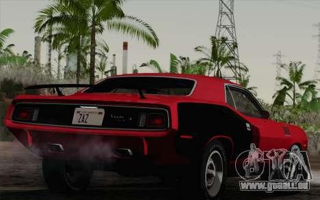 Plymouth Hemi Cuda 426 1971 pour GTA San Andreas laissé vue