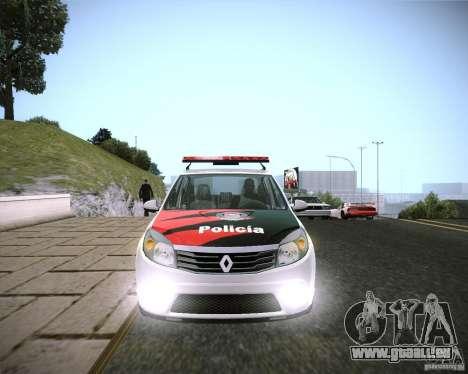 Renault Sandero Policia für GTA San Andreas zurück linke Ansicht