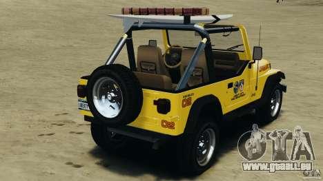 Jeep Wrangler 1988 Beach Patrol v1.1 [ELS] pour GTA 4 Vue arrière de la gauche