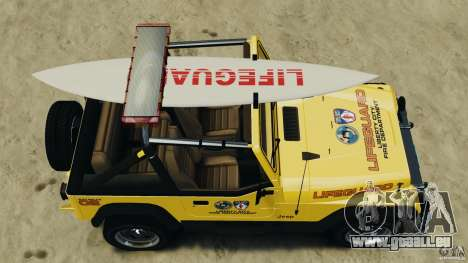 Jeep Wrangler 1988 Beach Patrol v1.1 [ELS] pour GTA 4 est un droit