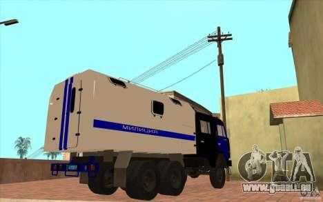 KAMAZ-Polizei für GTA San Andreas Rückansicht