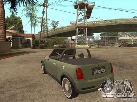 Mini Cooper S Cabrio für GTA San Andreas rechten Ansicht