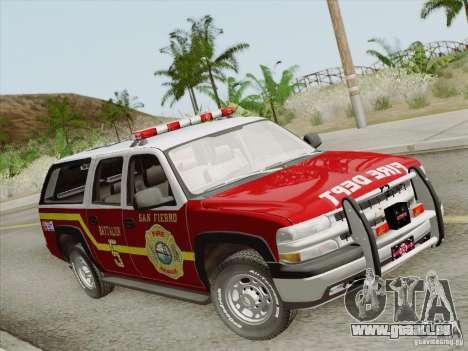 Chevrolet Suburban SFFD für GTA San Andreas rechten Ansicht