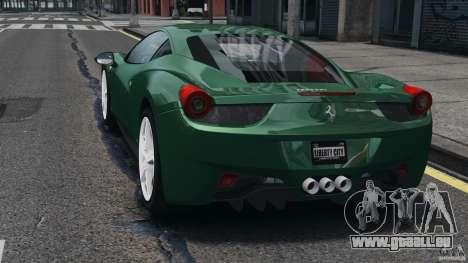 Ferrari 458 Italia 2010 pour GTA 4 Vue arrière de la gauche