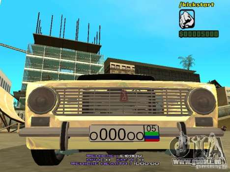 VAZ 2102 Gold für GTA San Andreas Innenansicht