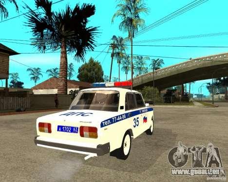 VAZ 2105 DPS für GTA San Andreas zurück linke Ansicht