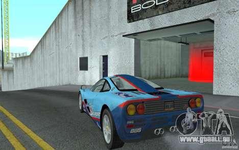 Mclaren F1 road version 1997 (v1.0.0) pour GTA San Andreas sur la vue arrière gauche