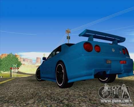 Nissan Skyline R34 Z-Tune V3 pour GTA San Andreas laissé vue