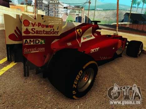 Ferrari F2012 pour GTA San Andreas vue de droite