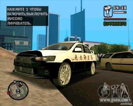 Mitsubishi Lancer EVO X Japan Police für GTA San Andreas rechten Ansicht