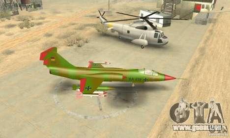 F-104 Starfighter Super (grün) für GTA San Andreas rechten Ansicht
