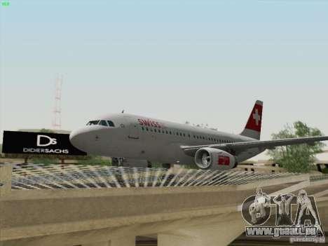 Airbus A319-112 Swiss International Air Lines pour GTA San Andreas vue intérieure