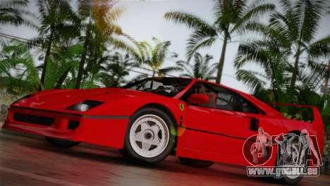 Ferrari F40 1987 für GTA San Andreas rechten Ansicht
