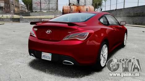 Hyundai Genesis Coupe 2013 pour GTA 4 Vue arrière de la gauche