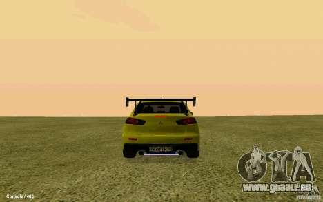Mitsubishi Lancer Evolution Drift pour GTA San Andreas laissé vue