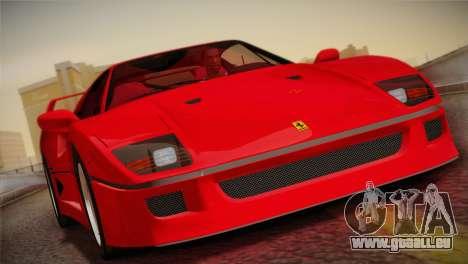Ferrari F40 1987 für GTA San Andreas obere Ansicht