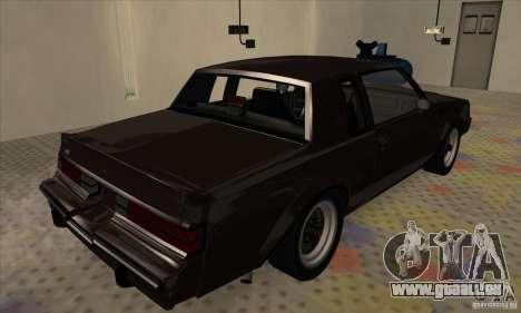 Buick Regal GNX 1987 für GTA San Andreas zurück linke Ansicht