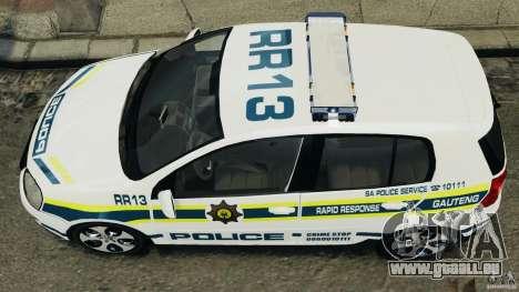 Volkswagen Golf 5 GTI South African Police [ELS] pour GTA 4 Vue arrière de la gauche