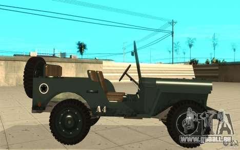 Willys MB pour GTA San Andreas laissé vue