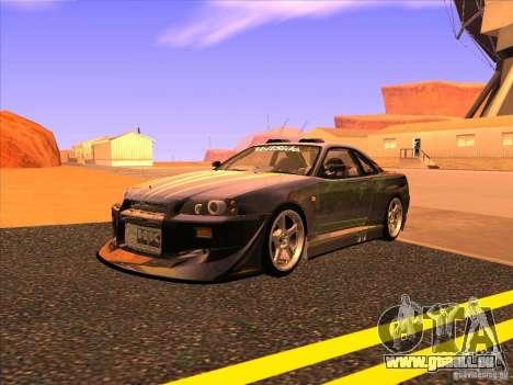 Nissan Skyline R34 Tunable pour GTA San Andreas vue de côté