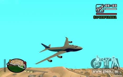 Boeing 747 serie 8 pour GTA San Andreas sur la vue arrière gauche