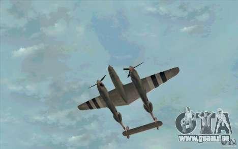 P38 Lightning für GTA San Andreas Innenansicht