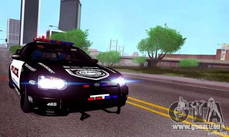 Subaru Impreza WRX STI Police Speed Enforcement für GTA San Andreas zurück linke Ansicht