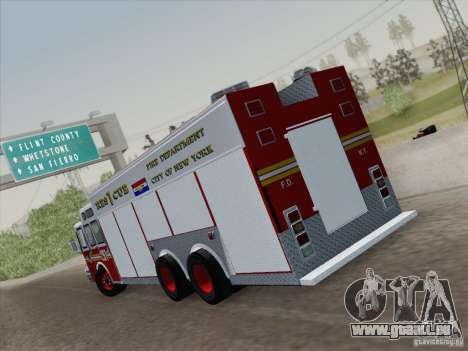 E-One F.D.N.Y Fire Rescue 1 für GTA San Andreas zurück linke Ansicht