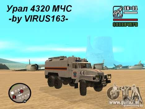 Ural 4320 MOE pour GTA San Andreas vue intérieure