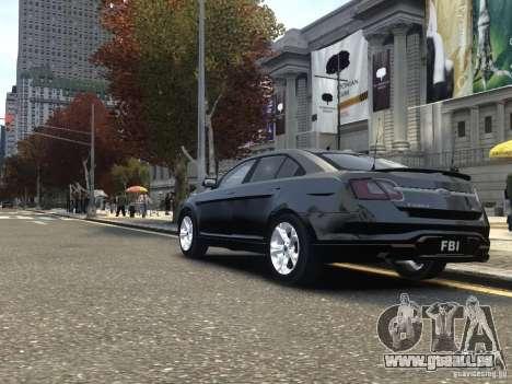 Ford Taurus FBI 2012 pour GTA 4 Vue arrière de la gauche