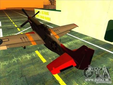 P51D Mustang Red Tails pour GTA San Andreas vue de droite